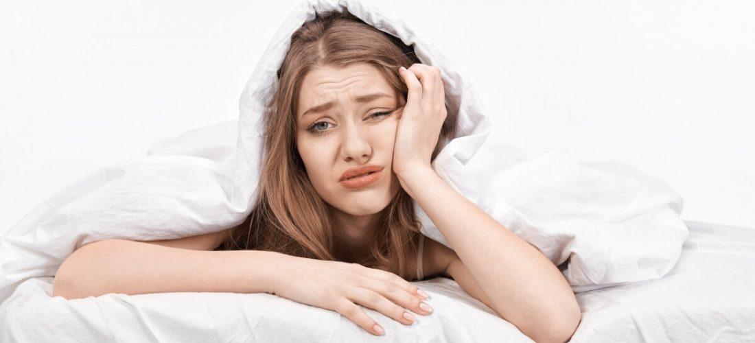 Woman has bad sleep before job interview