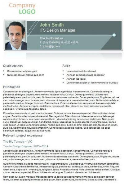 CV for tenders example